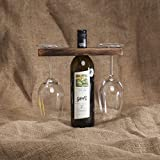 GoCraft Wine Bottle & Glass Holder | Handmade Antique Wood Stand for Wine for Two Glasses & Bottle