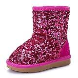 Legend Girl's Waterproof Snow Boot Cold Weather Boot Antil Slip Winter Boot Sequins Short Boot Rosy 10