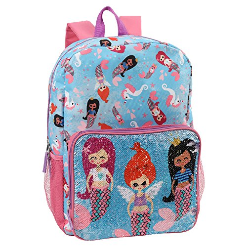 Confetti Girls' Mermaid Purrmaid Print Backpack with Flip