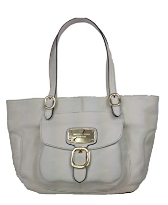7894bfe5499366 Amazon.com: Michael Kors Hudson Downtown Leather Large Tote, Vanilla:  Clothing