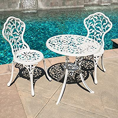 Belleze 3pc Bistro Set Outdoor Patio Furniture Leaf Design Antique