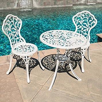 Belleze White Cast 3 Piece Bistro Outdoor Patio Set Leaf Design Weather Resistant Round Table 2 Chairs Garden Furniture