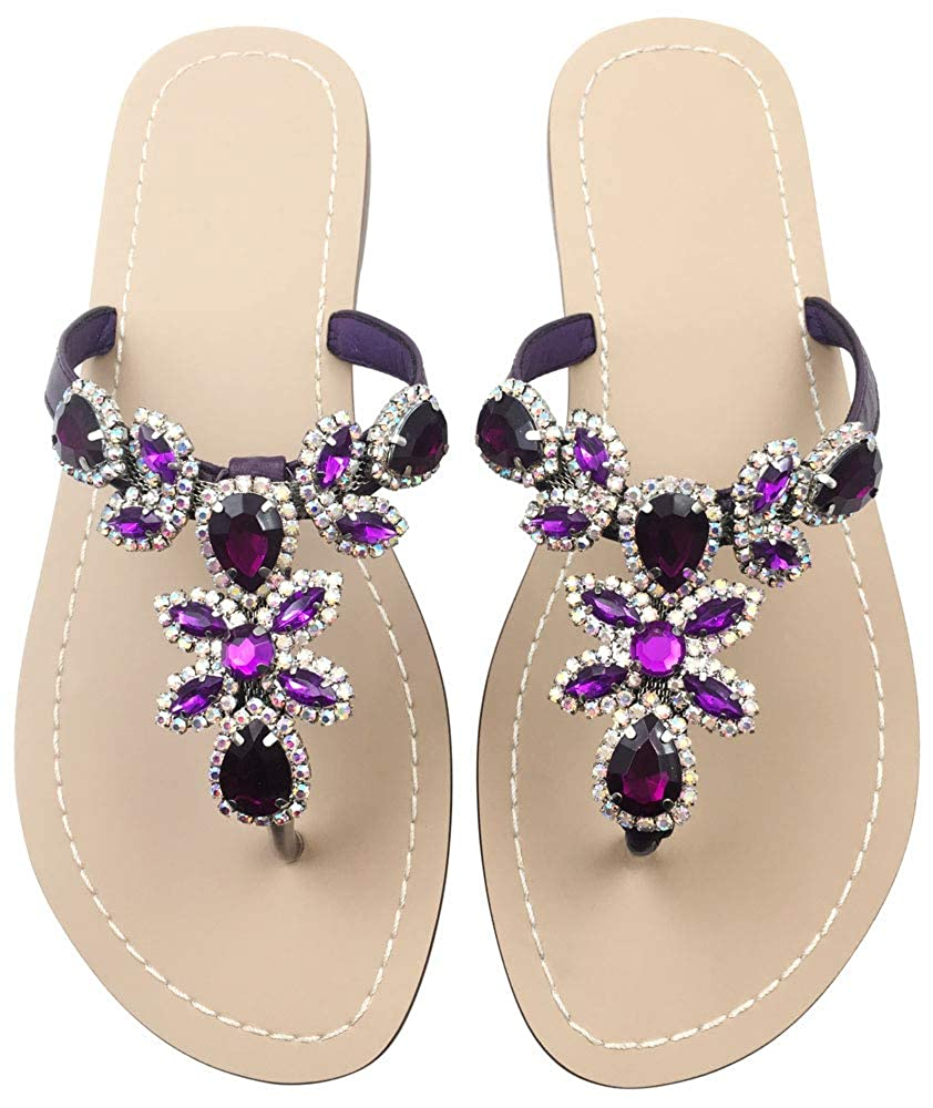 Deep Purple Women's Summer T-Strap Bohemian Rhinestone Slip On Flip Flops Flat Sandals