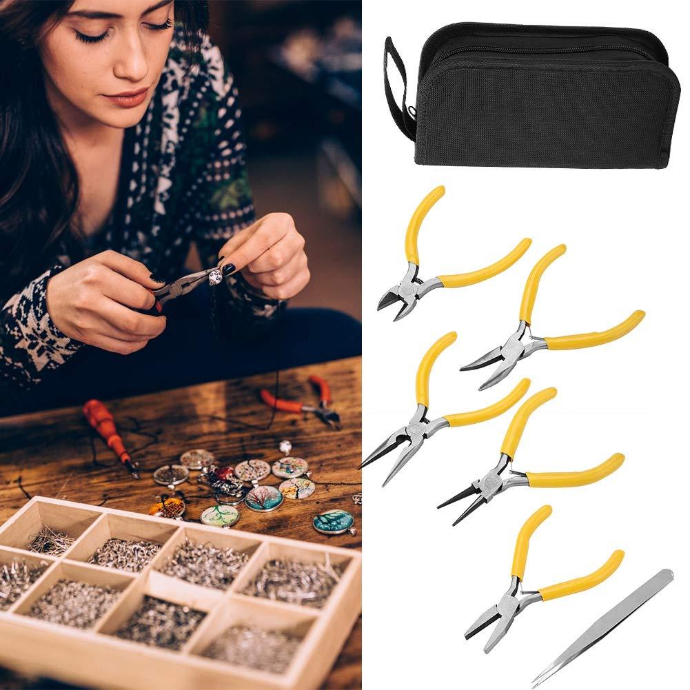 5-teilig Seitenzange und Pinzette zum Basteln von Perlen rund gebogen Flachzange Schmuckzangen-Werkzeug-Set Nadel