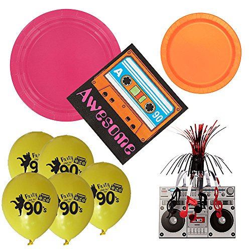 02 90s theme party supplies for 16 guests, large and small plates, napkins, centerpiece, (Neon Centerpiece Ideas)