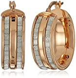 14k Rose Gold Italian Wide Hoop Earrings with Dual Baguette Style Glitter Strips Hoop Earrings
