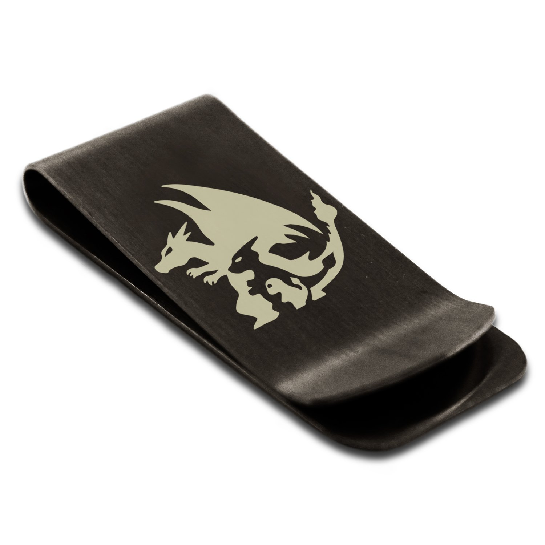 Matte Black Stainless Steel 1st Gen Charmander Charmeleon Charizard Pokémon Engraved Money Clip Credit Card Holder