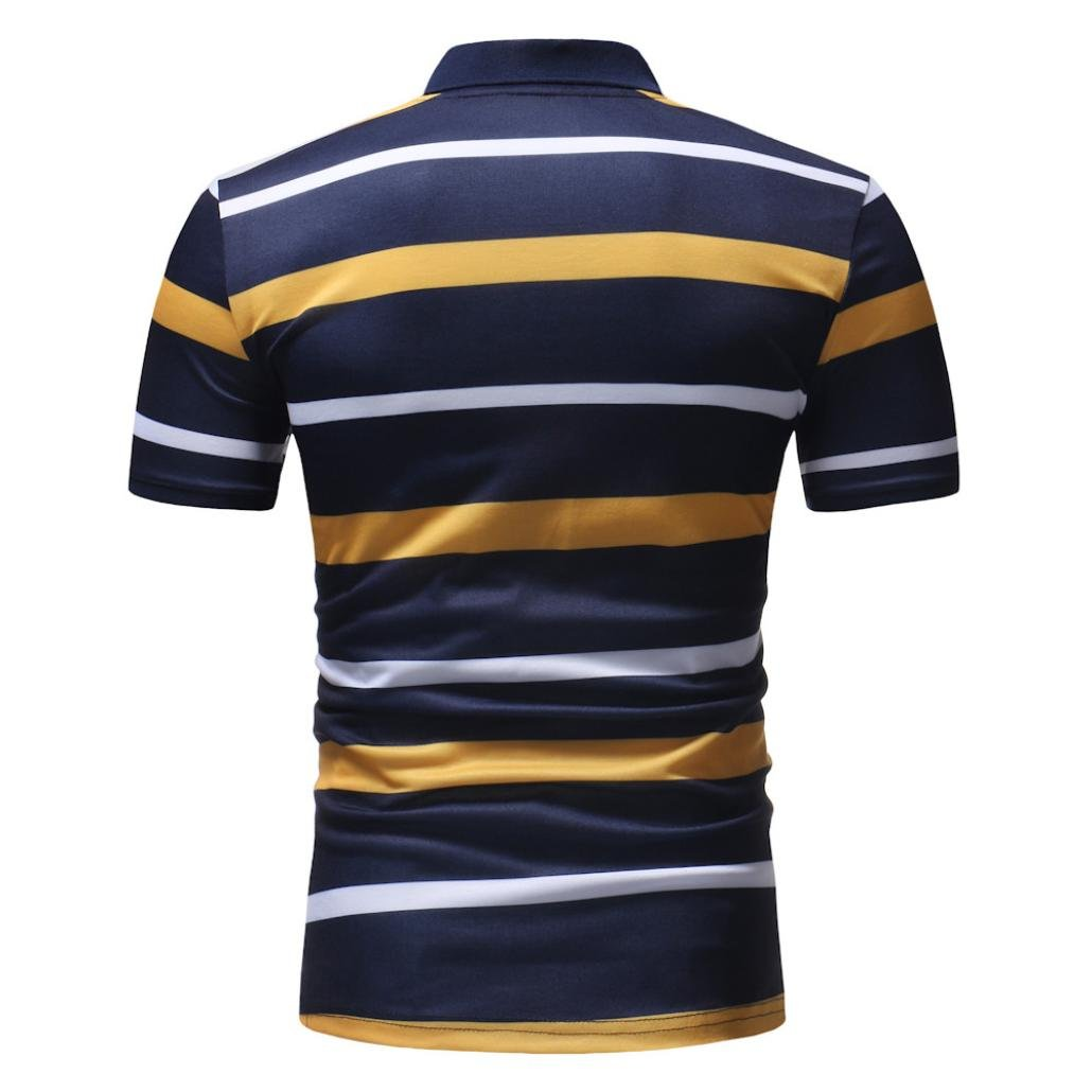 vermers Mens Fashion Polo Shirts Summer Casual Buttons Striped Short Sleeve T Shirt(2XL, Yellow) by vermers (Image #5)