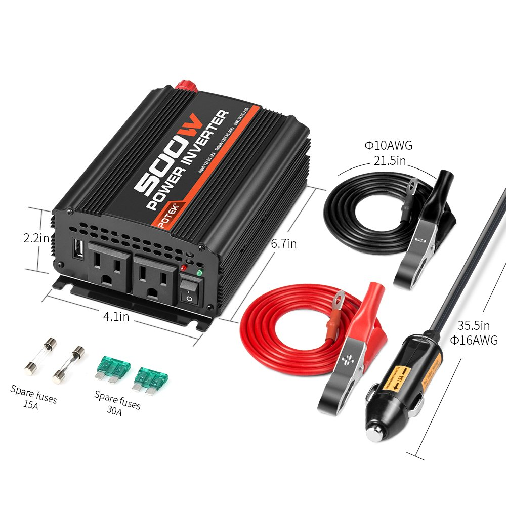 Potek 500w Power Inverter Car Converter Dc 12v To 110v Dual Mighty Cordr Marine Electrical Parts Wiring Ac Charging Port And 2a Usb Ports For Laptop Smart Phone Motorbike