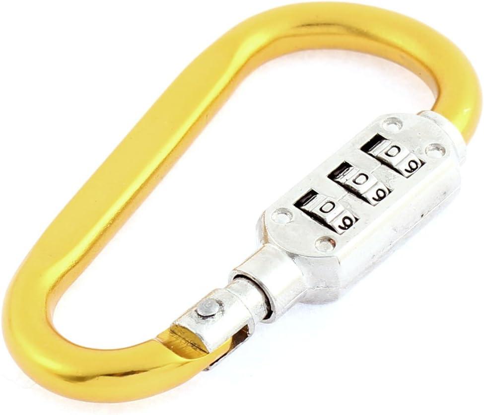 EyezOff 3.5 Inch Carabiner Aluminum Multi Purpose Lock 4-Dial Code D-Shape Red