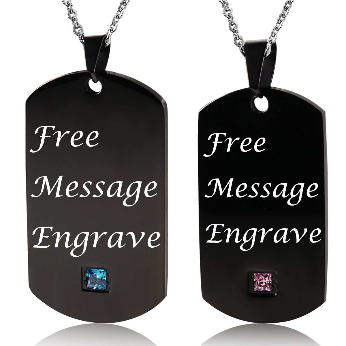 NEHZUS Stainless Steel Plain Dog Tag Pendant Necklace for Couples(Free Engraving) (Black With Gem)