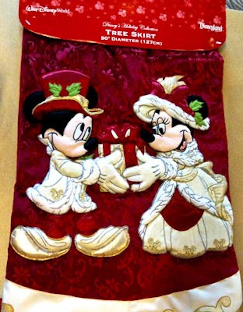 amazoncom disney park mickey minnie mouse victorian christmas holiday tree skirt new home kitchen - Disney Christmas Tree Skirt