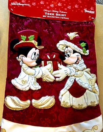 Good Disney Park Mickey Minnie Mouse Victorian Christmas Holiday Tree Skirt NEW