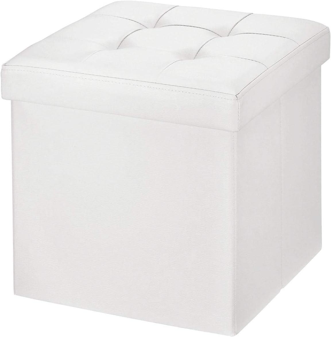 BRIAN & DANY Baúl Puff Taburete Plegable de Almacenamiento Banco Otomano Asiento, Piel sintética, 38 x 38 x 38 cm, Blanco