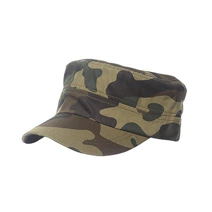 4d1a9e2a09af5 Daorier Casquettes Casquette Camouflage Style Armée Coton Unisexe Toit Plat  Chapeau Militaire Cadet Patrouille Brousse Chapeau
