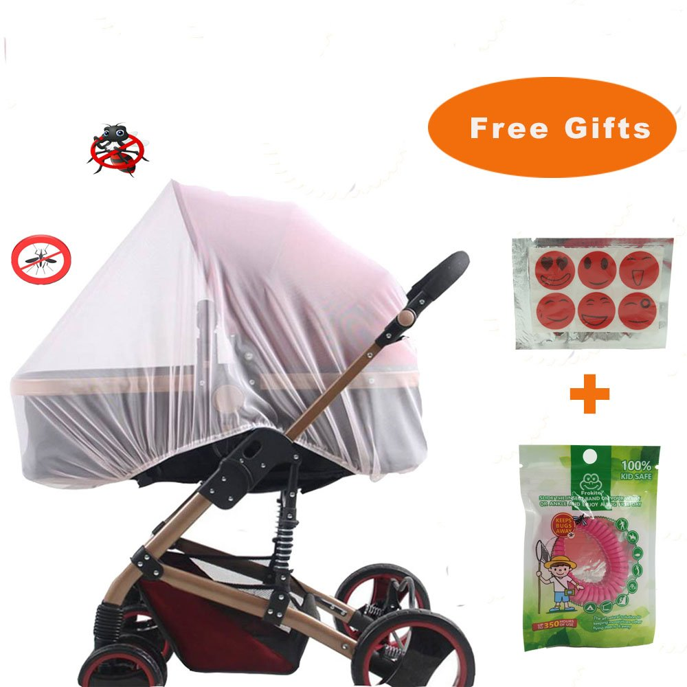 Baby Mosquito NET for Strollers, Car Seats and Bassinet. Universal Portable Durable Insect Netting (with Anti-Mosquito Bracelet) Abowei