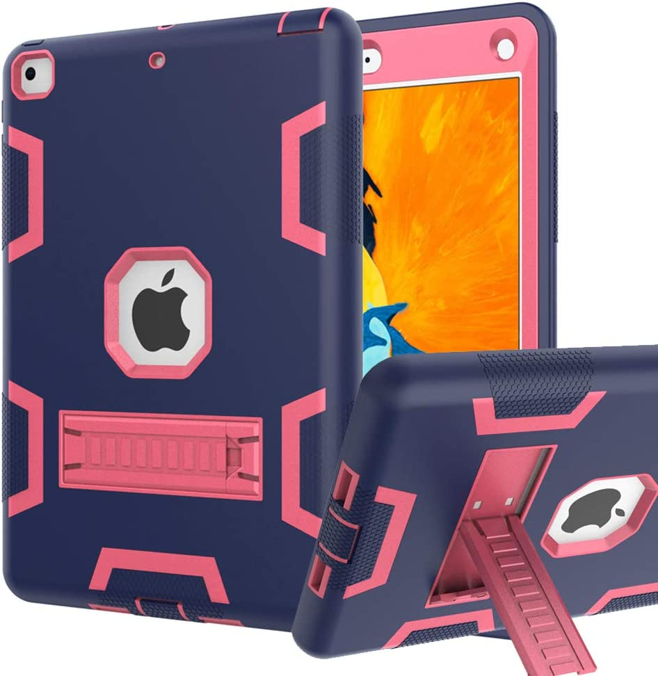 iPad 6th/5th Generation Case, iPad 9.7 2018/2017 Case, High Impact Hybrid Drop Proof Armor Defender Protection Case Built with Kickstand for New iPad 9.7-inch (A1893/1954/A1822)
