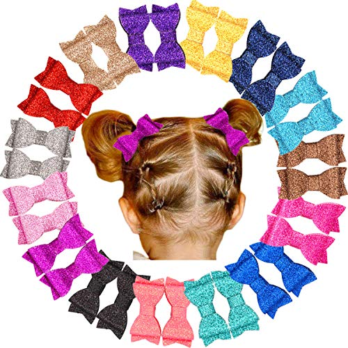 - 30Pc Glitter Sparkle Baby Girls Hair Bows Fully lined Hair Clips for Little Girls,Toddlers and Kids (15 Colors in Pairs)