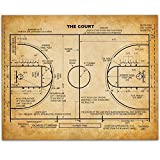 Basketball Court Art Print - 11x14 Unframed Patent Print - Great Game Room Decor or Gift for Basketball Coaches