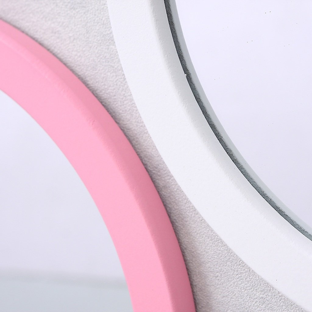 color : PINK, Size : 40cm Round Bathroom Mirror Creative Classroom Restaurant Wall Wall Mount Multifunction Multicolor Kindergarten Decorative Mirror Makeup mirror