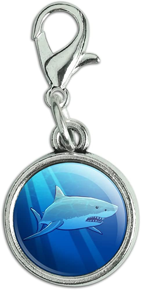 GRAPHICS & MORE Great White Shark Realistic Antiqued Bracelet Pendant Zipper Pull Charm with Lobster Clasp