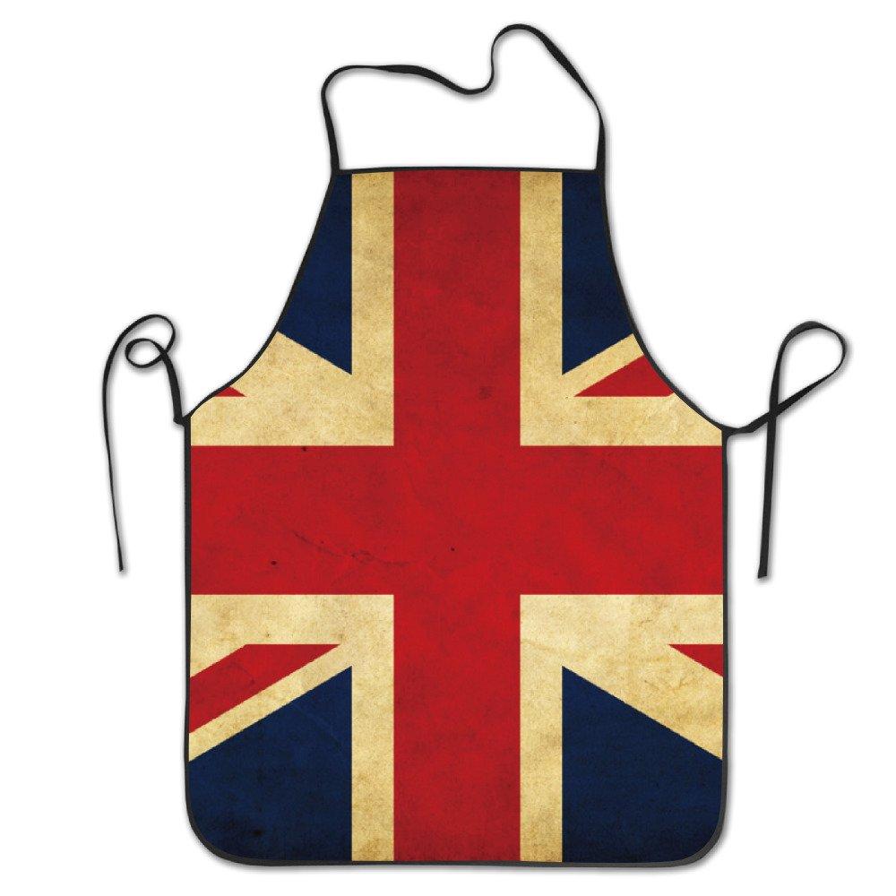 BRIGHT Men& Women British UK Flag Chef& Cook Kitchen Bib Apron Waterproof Perfect For Cooking, Baking, Crafting, BBQ