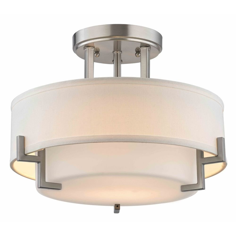 modern ceiling light with white glass in satin nickel finish  - modern ceiling light with white glass in satin nickel finish   amazoncom
