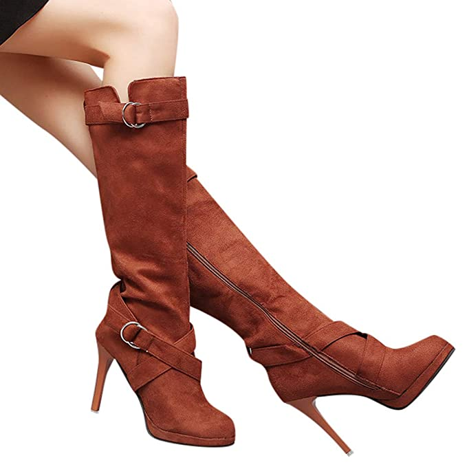 OSYARD Damenmode Sale,Hohe Stiefel Overknee Boots Damen Wildleder Vintage, Frauen Schuhe Schnalle Römische Plattform High Heels Kniestiefel Lange