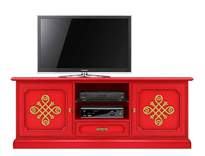 Ordinaire Red Tv Cabinet In Wood, 2 Door Tv Unit Living Room, Red Furniture,