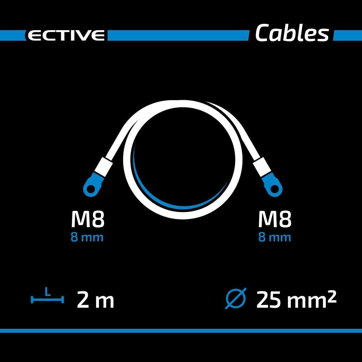 Wechselrichter ECTIVE Batterie-Kabel 25 mm/² M8//M8 2m Kabel-Satz rot und schwarz universell f/ür bspw