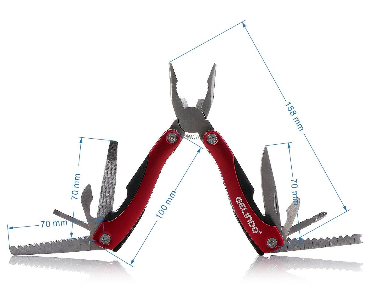 Gelindo Herramienta Premium Multiuso con funda, cuchillo, alicates, sierra y mucho más (Azul)