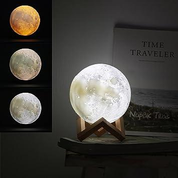 Jiusion 15cm Luna Lámpara Impresión 3D Luz de Noche con Base, USB ...