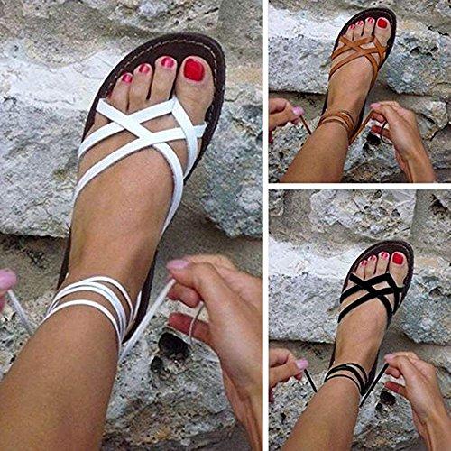 Chaussures Tie Up Sandales Roman Fashion Sandales Toe Peep Summer Jaune Strap Cross Plat Femmes Plage Talon de Yq04wYO