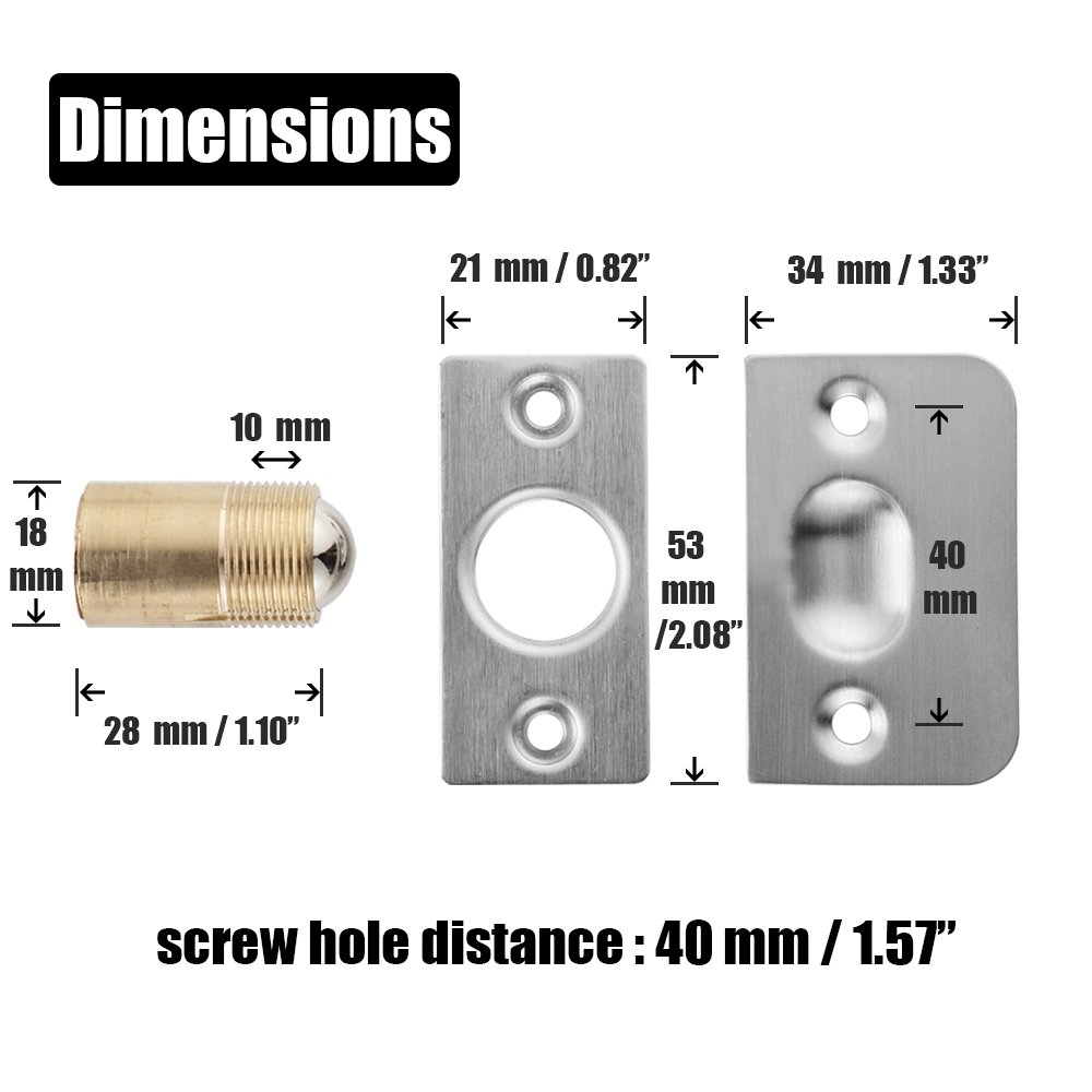 HBC100-BK-P2 JQK Closet Door Ball Catch Hardware Stainless Steel Catch Adjustable with Strike Plate Black Finish 2 Pack