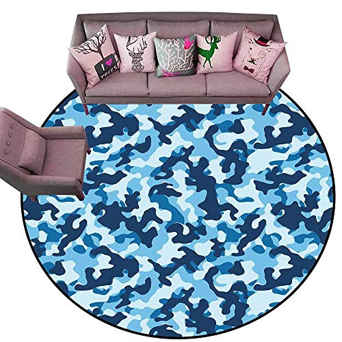 - Large Floor Mats for Living Room Camouflage,Costume Pattern with Vibrant Color Palette Abstract Composition Concealment,Blue Coconut Diameter 78