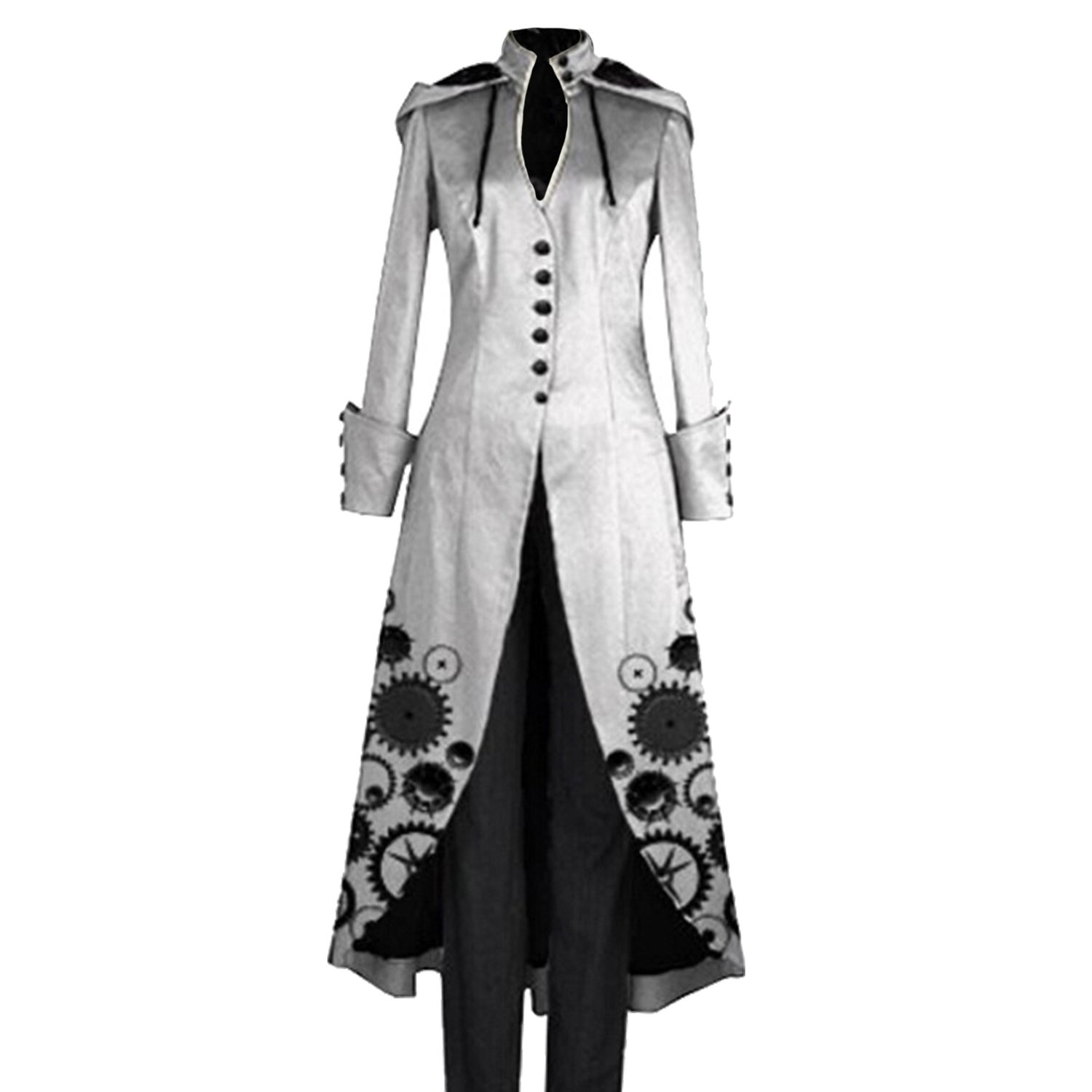 Womens Vintage Steampunk Overcoat Victorian Hooded Retro Lace Up Gothic Coat