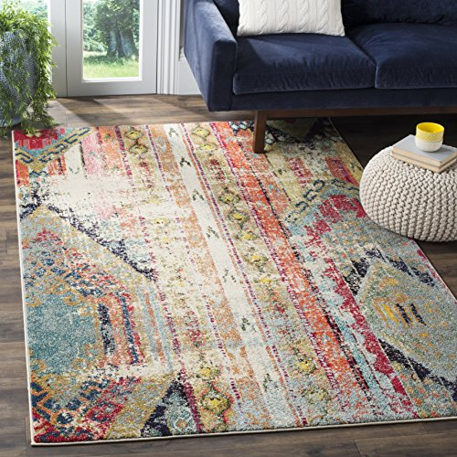 Safavieh Monaco Collection MNC222F Modern Bohemian Multicolored Distressed Area Rug (8' x 10')