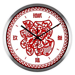 ysayc mute wall clock creative fashion living room bedroom new year wall clock chinese style chinese new year wall clock 12 inches silver border