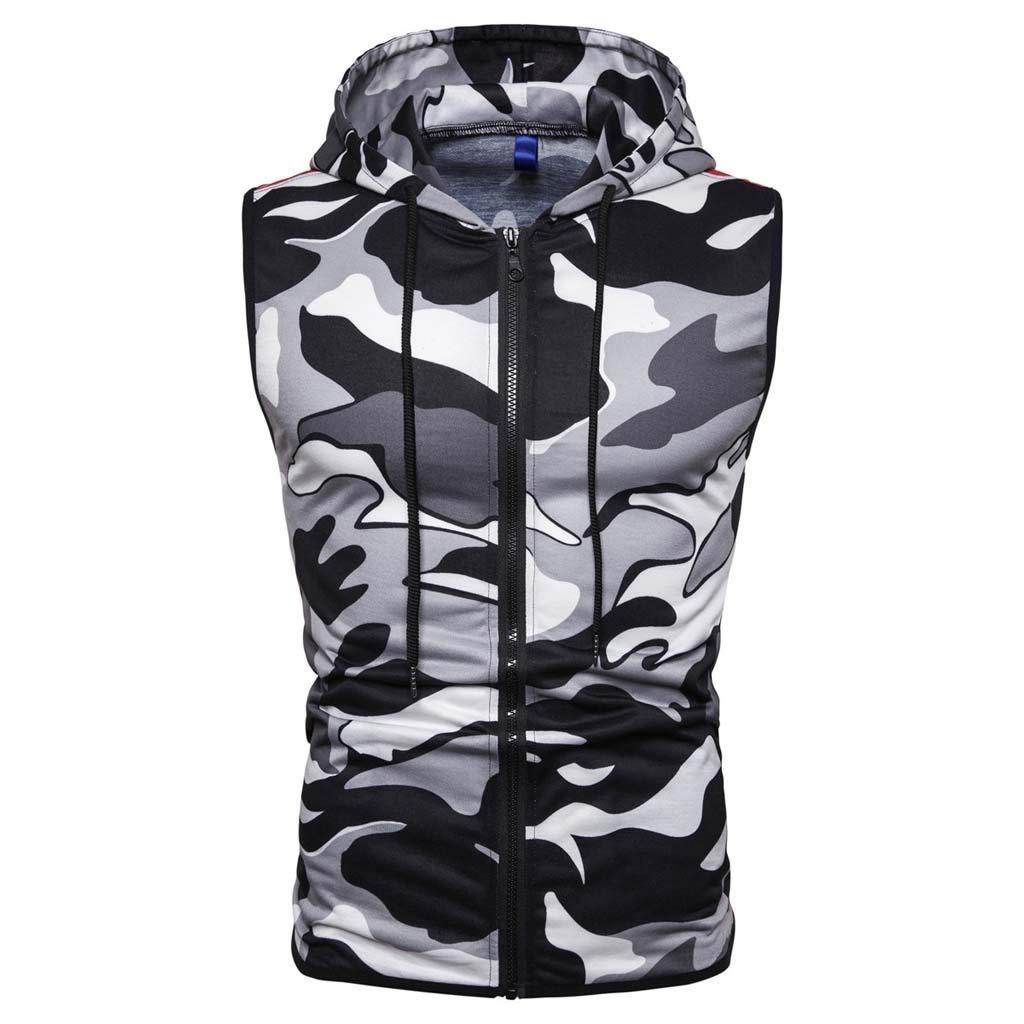 EINCcm Mens Camouflage Tank Tops, Cotton Sleeveless Hooded Zipped Athletic Training Fitness Sleeveless Tees Muscle Shirt(Gray, XXL)