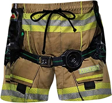 Heetey Pantalones Cortos De Bombero De Estilo Informal Con Cintura Elastica Para Hombre Amazon Es Ropa Y Accesorios