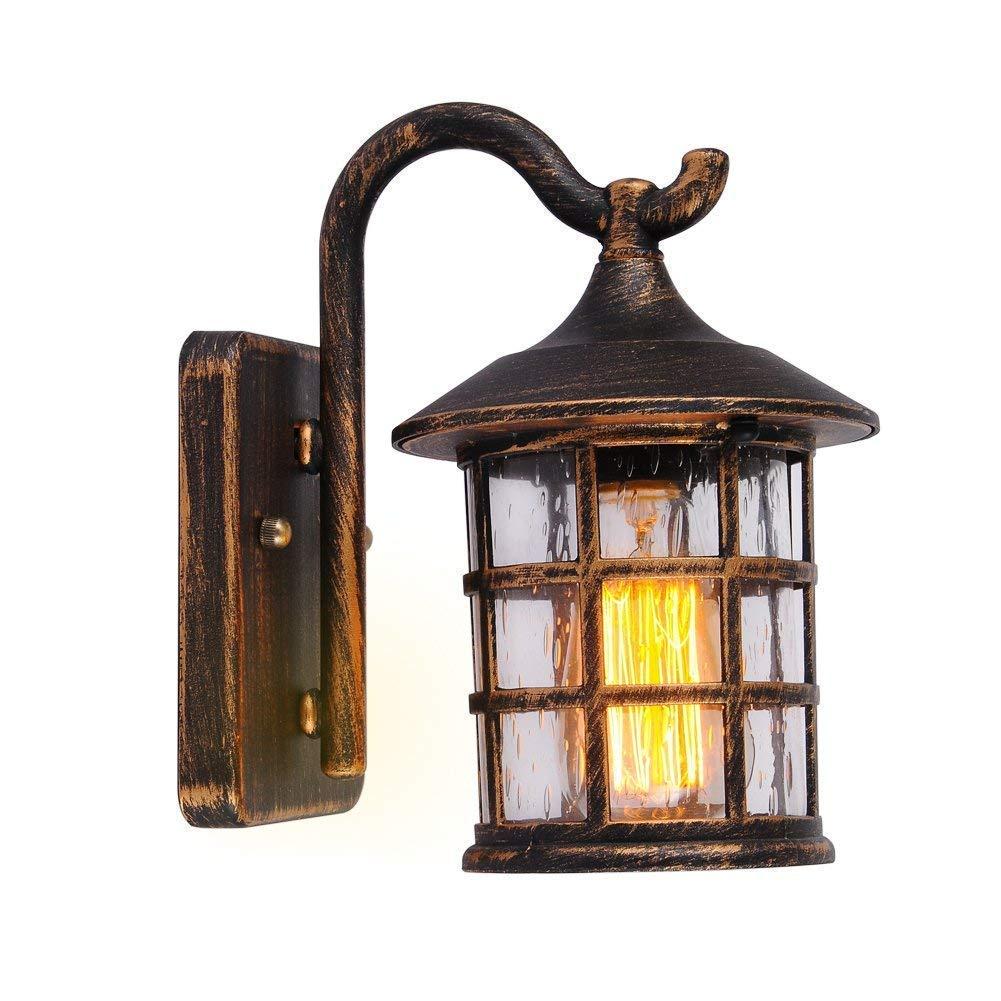 Vintage Industrie Wandleuchte, Europäische Outdoor Wasserdichte Wandleuchte Retro Eisen Glas Wandleuchten Europäischen Hof Balkon Korridor Lampe (farbe  Bronze Schwarz) (Bronze)