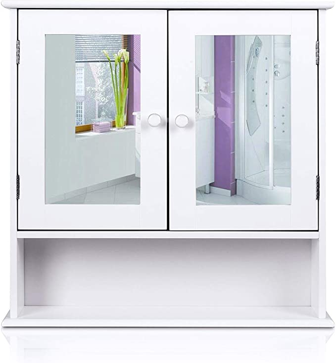 Homfa Bathroom Wall Cabinet Multipurpose Kitchen Medicine Storage Organizer With Mirror Double Doors Shelves White Finish Home Kitchen Amazon Com