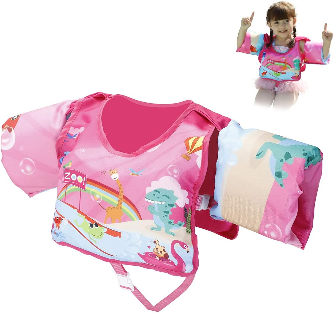 ezdoit Kids Life Jacket Learn to Swim Life Vest for Children Toddler Floats Swim Vest with Arm Wings for Baby 30-60 lbs Pink