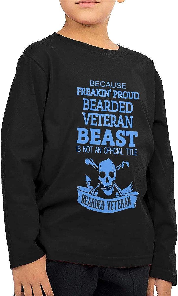 Bearded Veteran Childrens Long Sleeve T-Shirt Boys Cotton Tee Tops