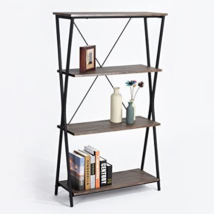 Aingoo 4 Shelf Bookcase Vintage Industrial Bookshelf MDF With Metal Frame Shelving Unit