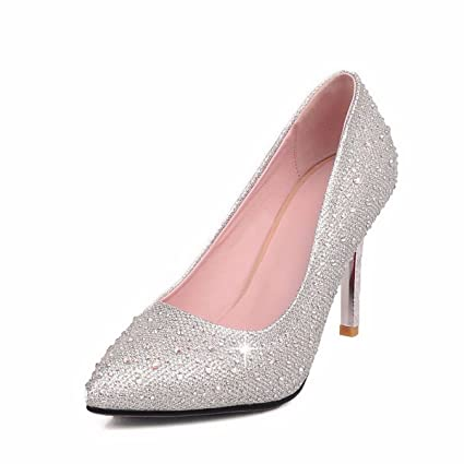 GTVERNH Diamond Drill Sequins Sharp Pointed Shallow Mouth Single Shoe Thin  Heel 8Cm High Heel Shoes Bridesmaid Shoes Wedding Dresses Night Clubs  Women S ... 5fccc44fe2d0