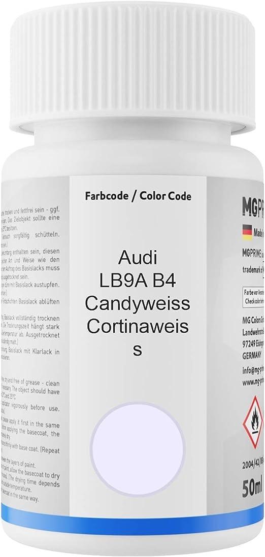 Mg Prime Autolack Lackstift Set Für Audi Lb9a B4 Candyweiss Cortinaweiss Basislack Klarlack Je 50ml Auto