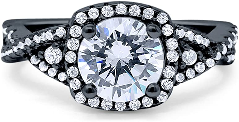 Blue Apple Co Halo Infinity Shank Engagement Ring Cushion Created White Opal Round Cubic Zirconia 925 Sterling Silver Choose Color