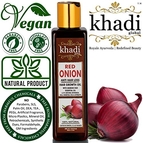 KHADI GLOBAL RED ONION HAIR GROWTH OIL WITH PURE ARGAN, JOJOBA, ROSEMARY, BLACK SEED OIL IN PUREST FORM VERY EFFECTIVELY CONTROL HAIR LOSS, PROMOTES HAIR GROWTH 100% NATURAL HAIR FOOD 200ml/6.76 fl.oz (Best Sunflower Oil In India)