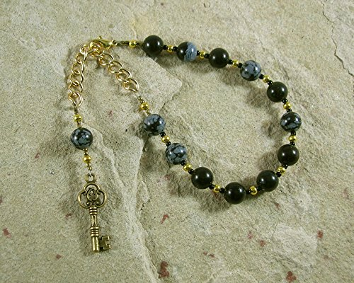 Hekate Prayer Bead Bracelet in Snowflake Obsidian: Greek Goddess of Magic, Witchcraft, Night, Darkness, Protection of the Home and Women